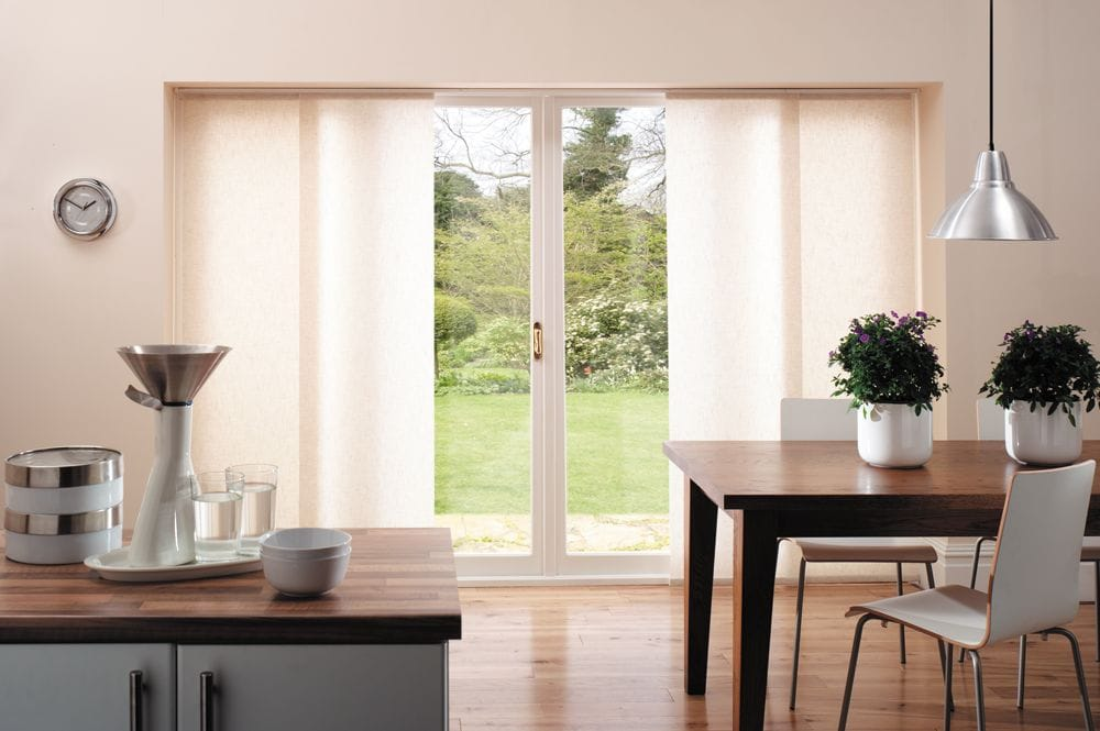 Panel Blinds over sliding doors with a centre split | Premier Shades Central Coast