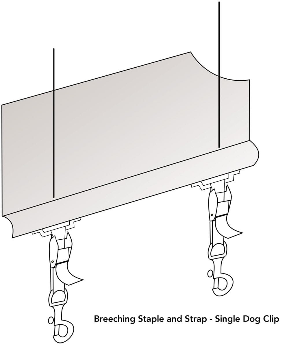 Straight Drop Awning - Breeching Staple and Strap - Single Dog Clip - Diagram