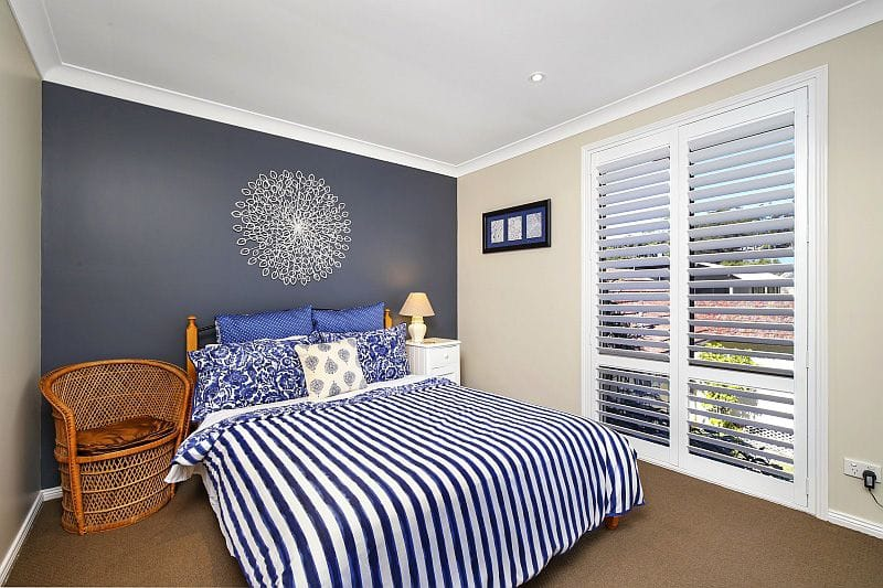 PVC white plantation shutter bedroom window central coast