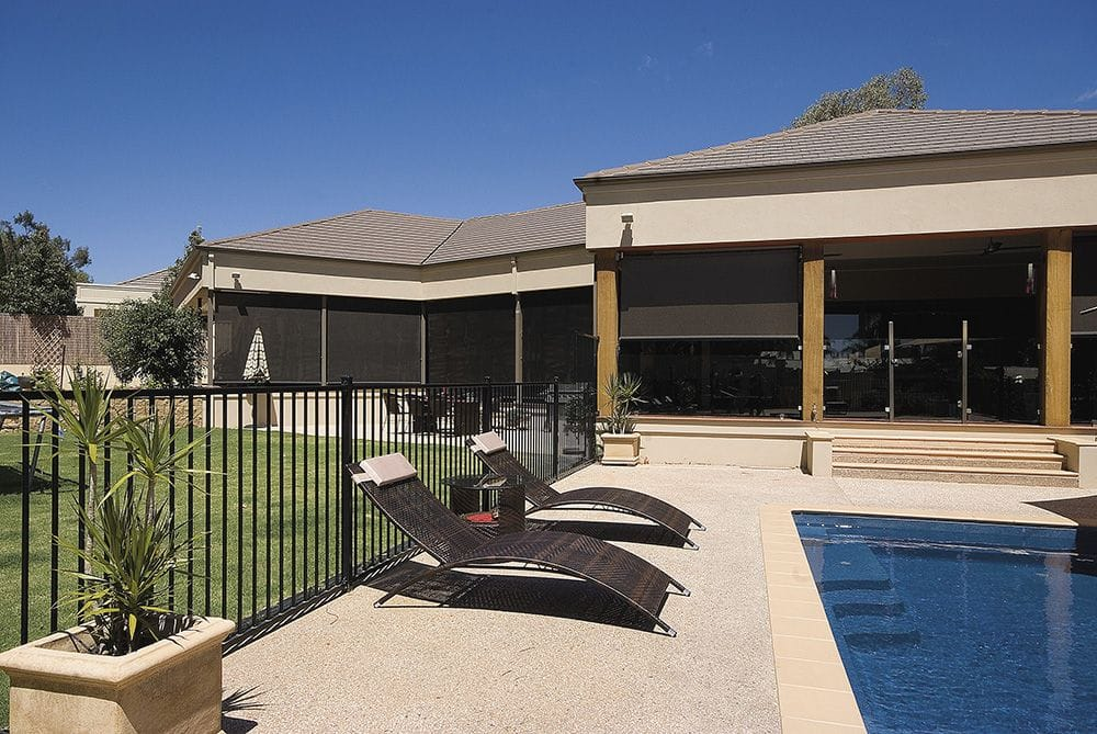 Spring Loaded Straight Drop Verandah Awning in Outdoor Pool Area
