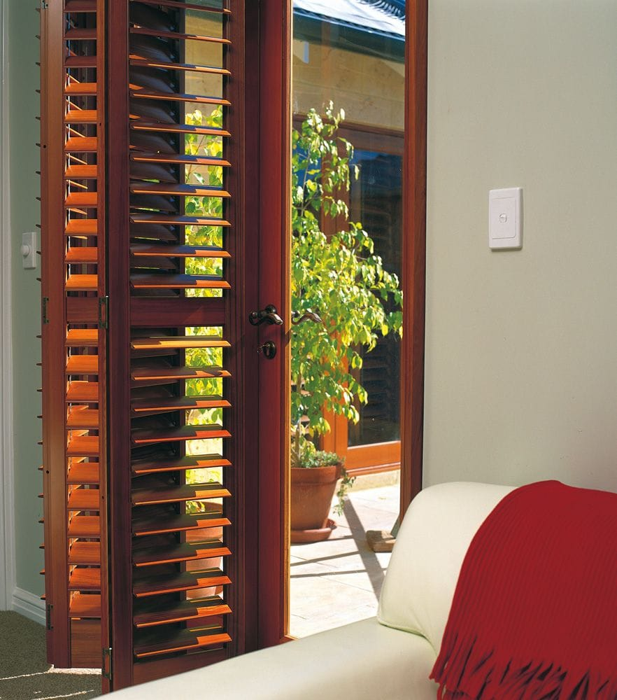 Cedar plantation shutters are available in a great range of colours, custom made for shaped windows, bi-fold or sliding