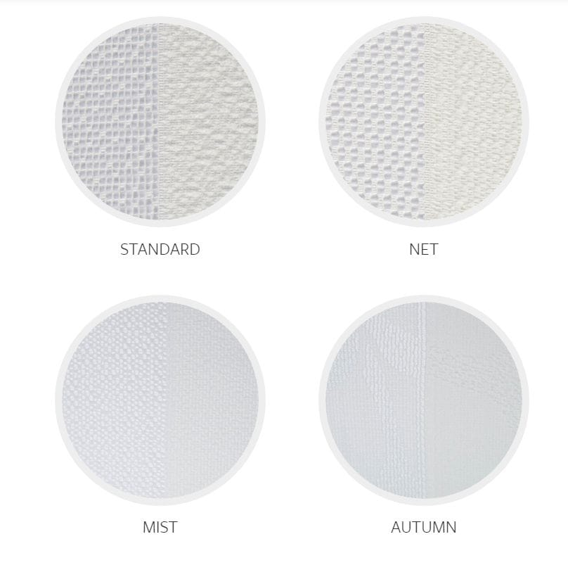 Veri Shades Fabrics come in 4 differing styles: standard; net; mist and autumn