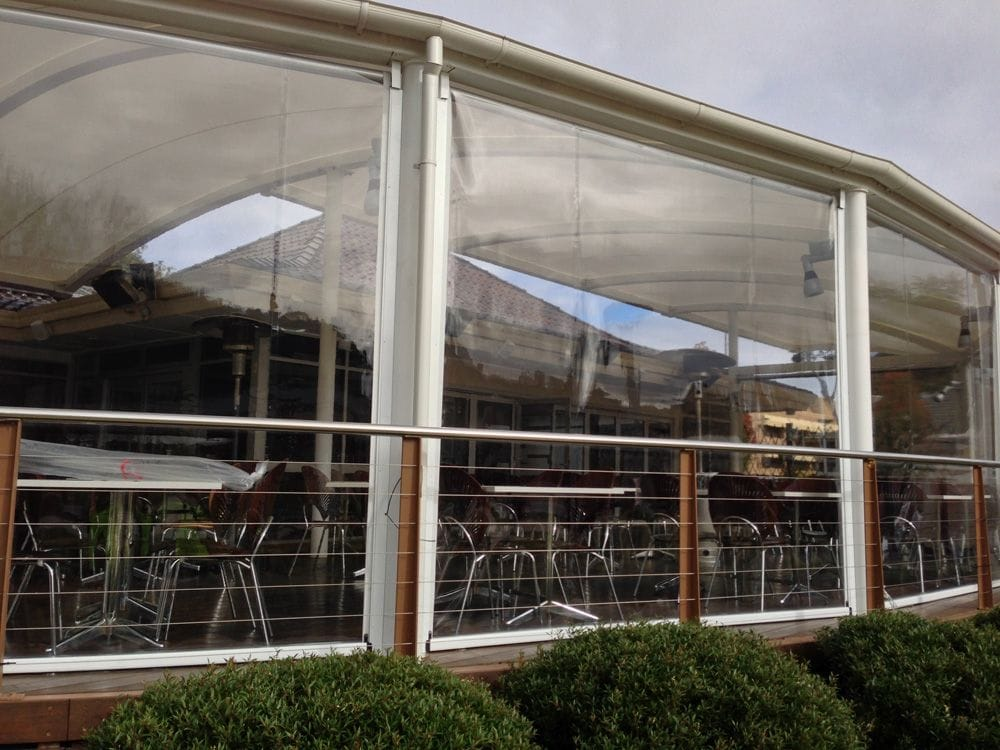 Café Blinds can be motorised and custom measured to enclose your home outdoor entertaining area