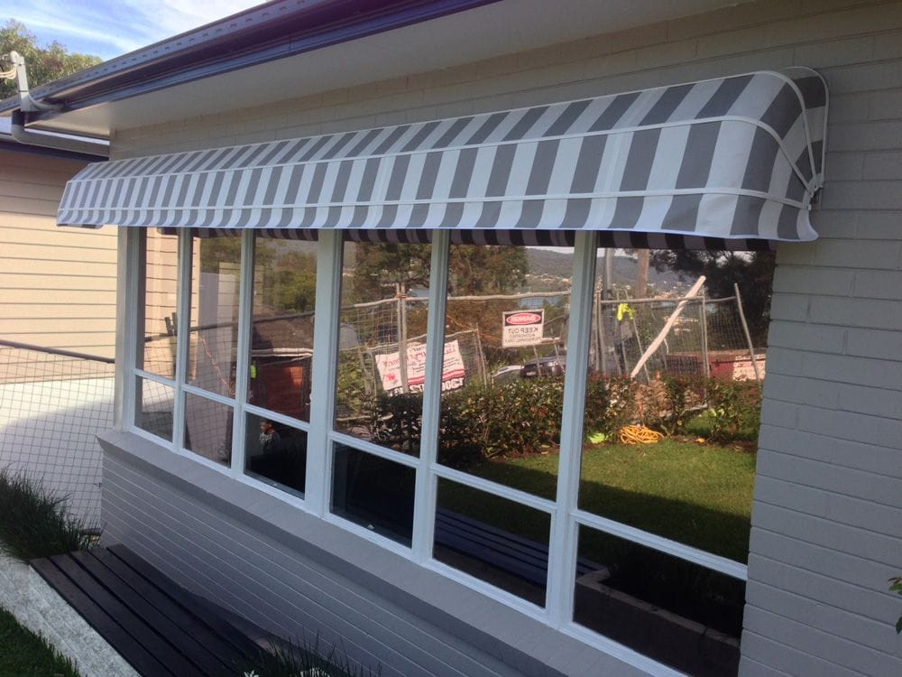 Canvas and Fabric Awnings available in a range of styles, pivot arm, auto lock arm, motorised, straight drop.