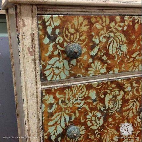 Allover Brocade Furniture Stencil