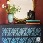 Anika Ikat Damask Furniture Stencil