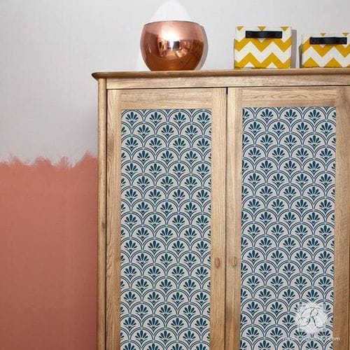 Art Deco Fanfare Raven Lily Furniture Stencil