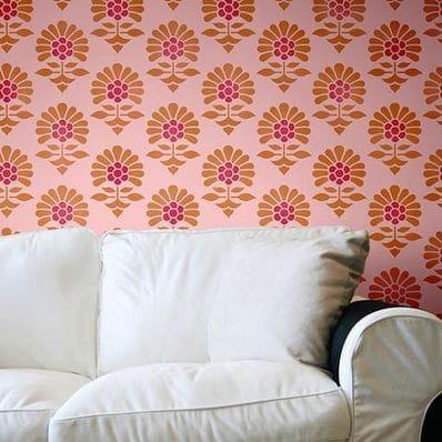 Large Japiru Flower Garden Wall Stencil