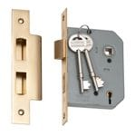 5 Lever Mortice Lock Polished Brass 57mm