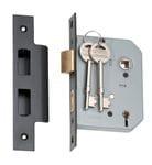 5 Lever Mortice Lock Matt Black 57mm