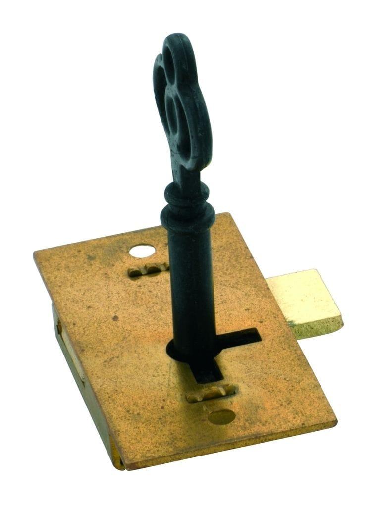 Cupboard Lock Brass 51mm x 26mm4001