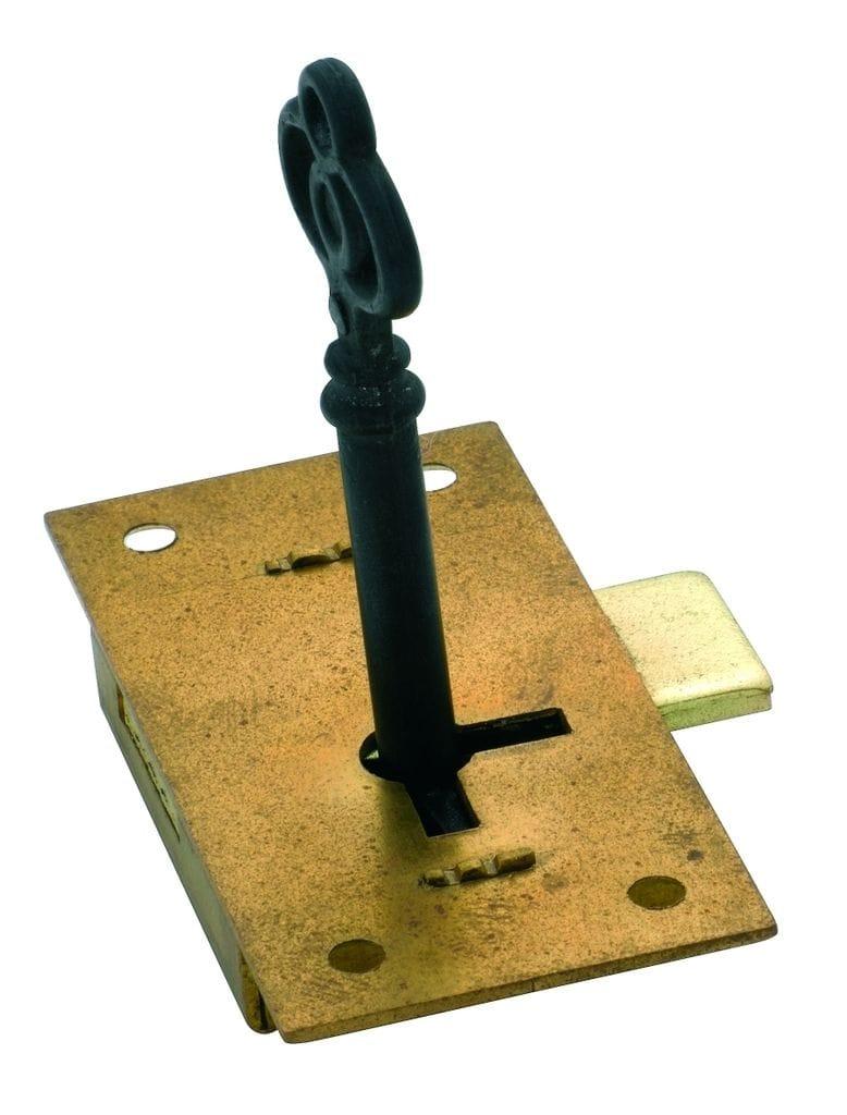 Cupboard Lock Brass 63mm x 32mm4002