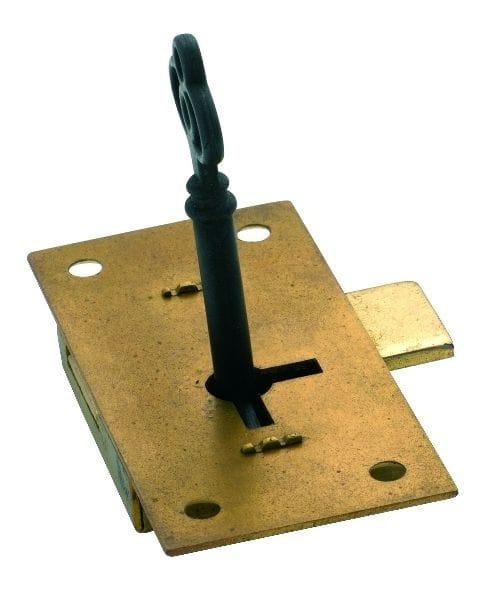 Cupboard Lock Brass 76mm x 37mm4003