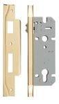 Rebated Left Hand Roller Lock Backset 45mm Polished Brass0119