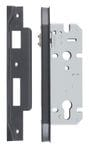 Rebated Left Hand Roller Lock Backset 45mm Matt Black0181