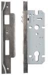 Rebated Left Hand Roller Lock Backset 45mm Rumbled Nickel0205