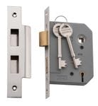 5 Lever Mortice Lock Polished Nickel 57mm