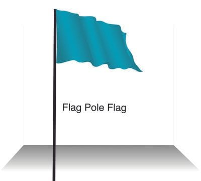 Expolite teal green flag on flag pole