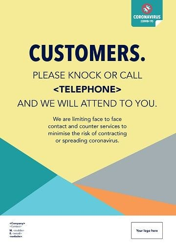 If you are limiting face-to-fac contact and counter service to minimise risk