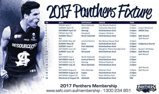 2017 South Adelaide Fixture Revealed