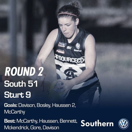 SAFCW Match Report - Round 2 - South Adelaide vs Sturt