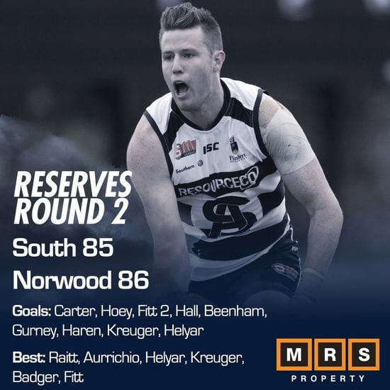 Reserves Match Report - Round 2 - South Adelaide vs Norwood