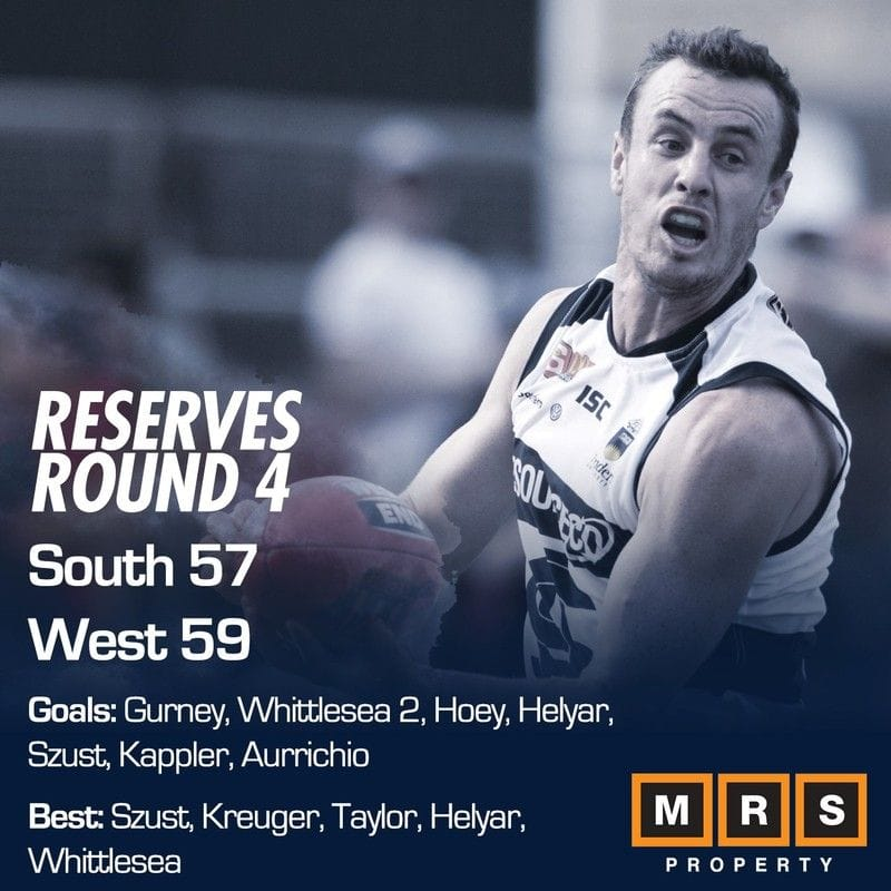 Reserves Match Report: Round 4 - South Adelaide vs West Adelaide
