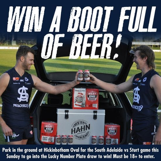 Win a Boot Full of Beer at the Footy!