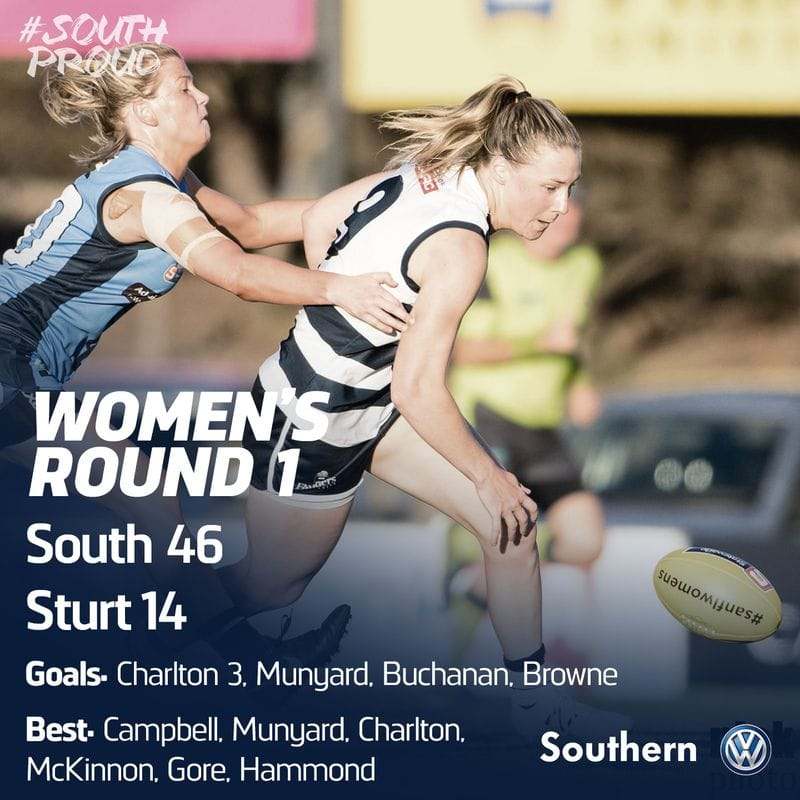 SAFCW Match Report: Round 1 - South Adelaide vs Sturt
