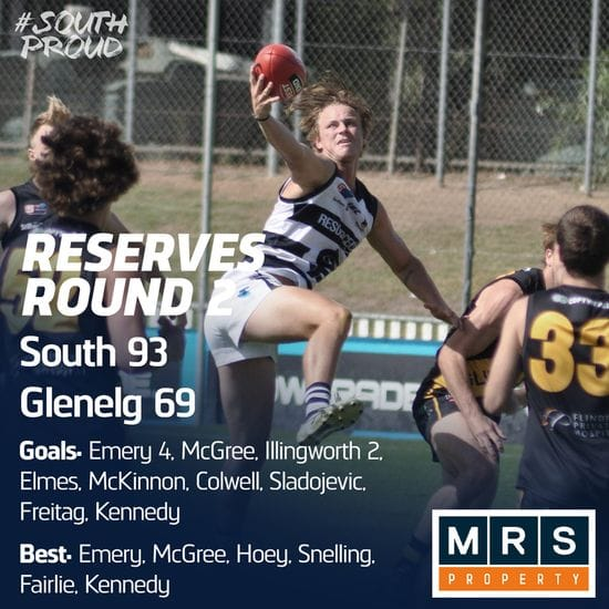 Reserves Match Report: South enjoy comfortable win over Glenelg