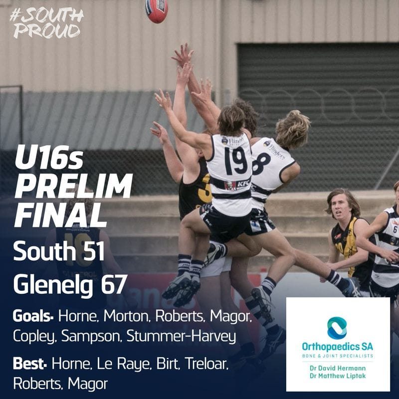 Junior Match Report: U16s season finished after Finals loss to Glenelg