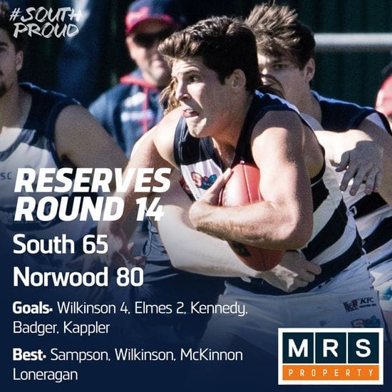 Reserves Match Report: South fall to Redlegs