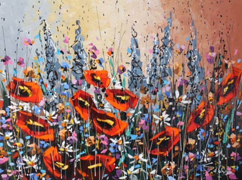 Poppies with Blue Lupins