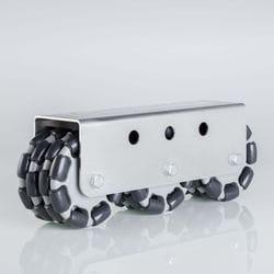 Rotacaster 125mm Quad, Polyurethane Roller/- Multimount, 3 x R4-125