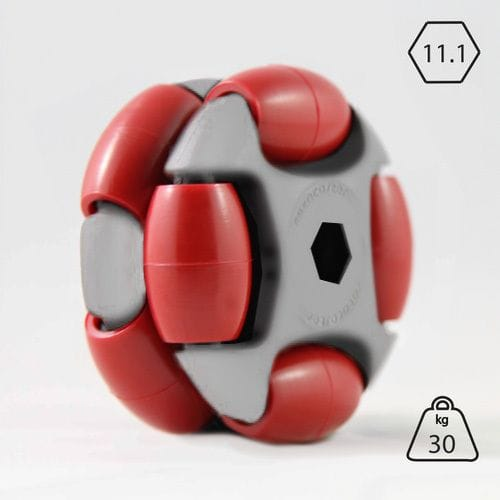Rotacaster 48mm Double (95A) firm polyurethane roller/- 11.1mm Hex Bore