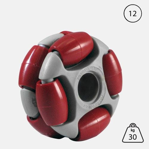 Rotacaster 48mm Double (95A) firm polyurethane roller - 12mm Plain Bore