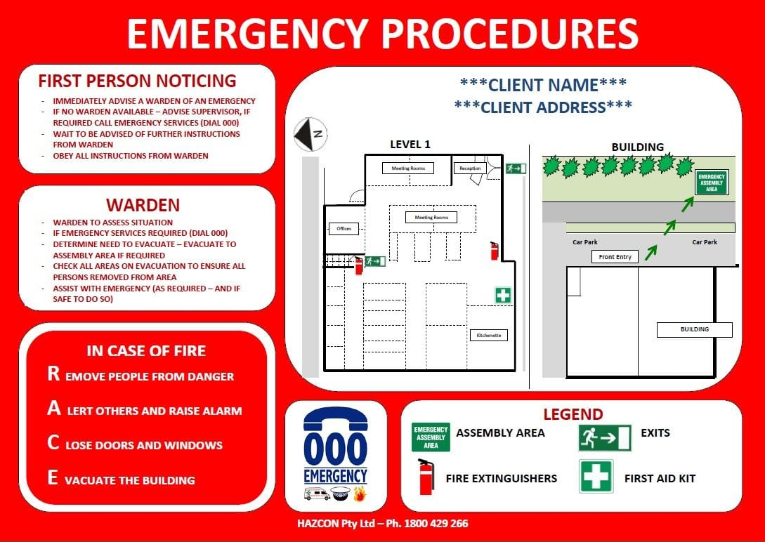 Floor Plan Blueprint Emergency Evacuation Diagrams