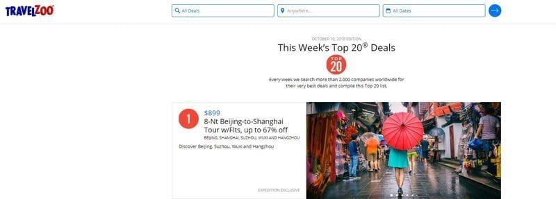 Travelzoo's Top 20 Deals