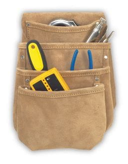Kuny DW1024 Drywall Pouch 4 Pocket (split leather)