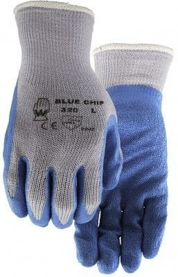 WATSON 320 BLUE RUBBER PALM KNIT BCK.GLOVE MED