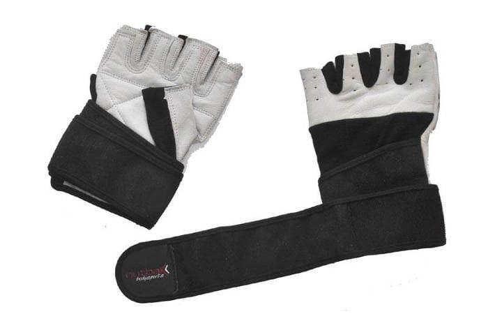Bodybuilder Gloves with Wrist Wrap - White Leather