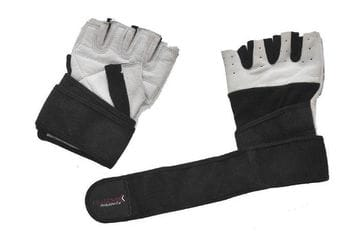 Bodybuilder Gloves with Wrist Wrap - White Leather