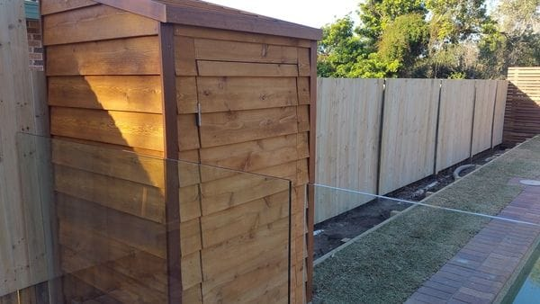 Galston pool filter shed & raised boundary fence