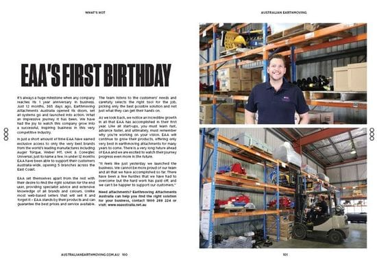 Australian Earthmoving Magazine celebrates with EAA