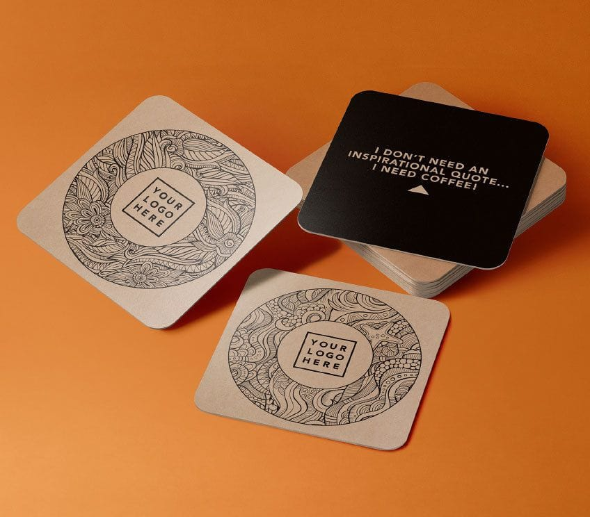 Coffee coasters, part of the working from home pack