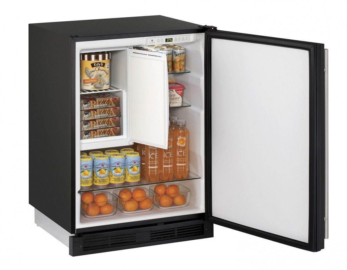 "Refrigerator Freezer 24"" Reversible Hinge Black 115v"