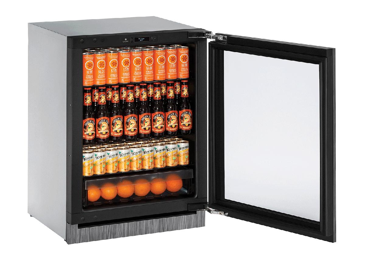 "Glass Refrigerator  24""  Reversible Hinge Integrated 115v"