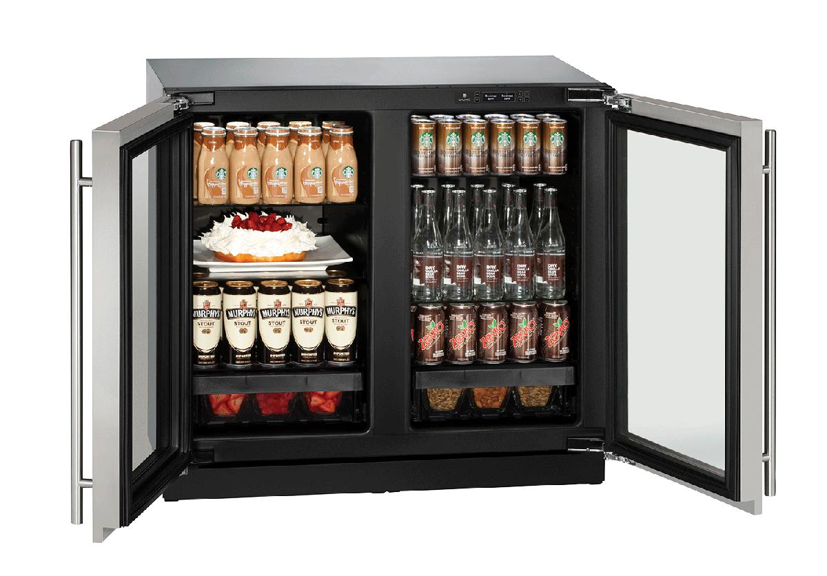 "Glass Refrigerator 36"" Stainless 115v"