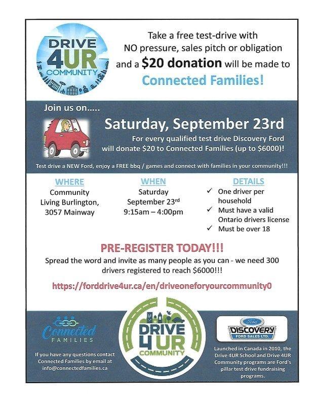 Fundraiser Sept 23rd DRIVE 4UR COMMUNITY