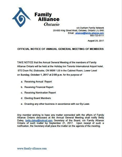 Family Alliance General Meeting Oct. 1, 2017